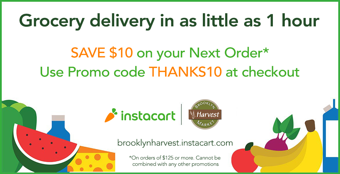 instacart banner with text saying save $10 on your next order by using promo code Thanks10