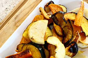 autumn roasted vegetables on a plate