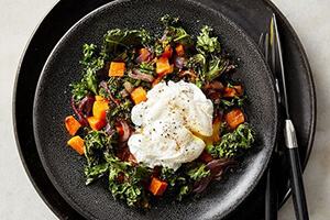 kale and sweet potato hash on a plate